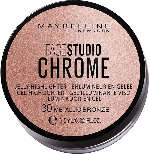 MAYBELLINE NEW YORK Face Studio Chrome Jelly Highlighter 30 Metallic Bronze 9,5 ml - Púder