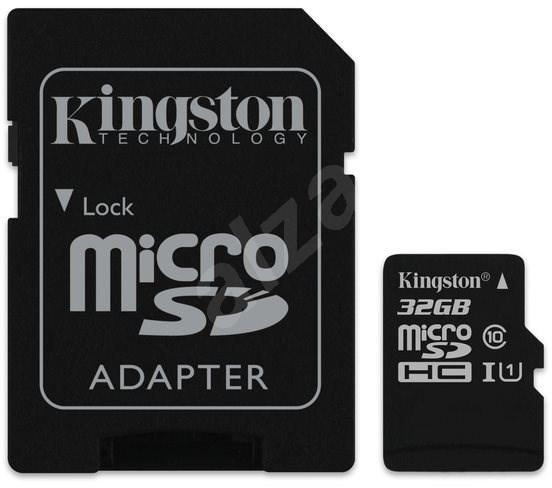 Kingston MicroSDHC 32GB UHS-I U1 + SD adapter - Memóriakártya