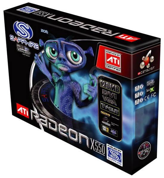 ATI (Sapphire) Radeon X550, 128 MB DDR, VGA/DVI, PCIe x16 - Graphics Card