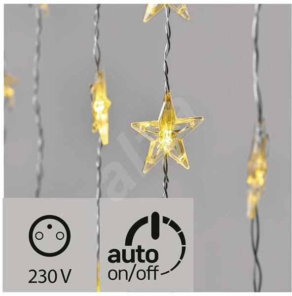 LED Karácsonyi függöny - csillagok, 120x90cm, kültéri, meleg fehér, időzítő - Fényfüzér