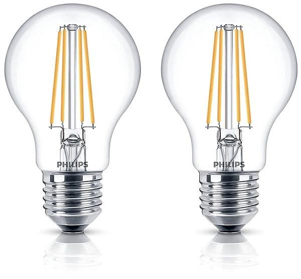 Philips LED Classic Filament Retro 6-60W, E27, 2700K, átlátszó, 2 db-os szett - LED izzó