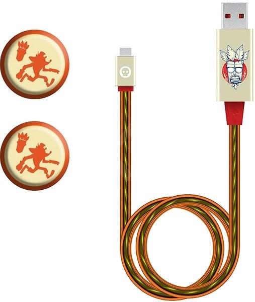 Crash Bandicoot - töltőkábel + 2 gumi fogantyú a vezérlőhöz - Adatkábel