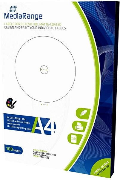 MediaRange CD / DVD / Blu-ray címkék 15 mm - 118 mm-es fehér - Matrica