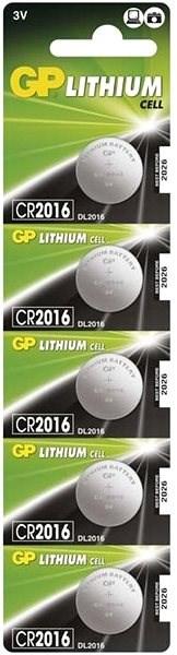 GP CR2016, lítium, 5 db a buborékcsomagolásban - Gombelem