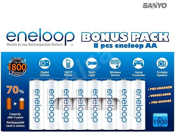 SANYO eneloop AA NiMH 1900mAh 8 pieces  - Rechargeable Battery