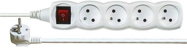 Emos töltőkábel 250 V, 4 konnektor, 5 m, fehér - Hosszabbító kábel