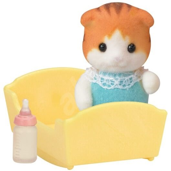 Sylvanian Families Maple Cat Baby in Cradle - Játék szett