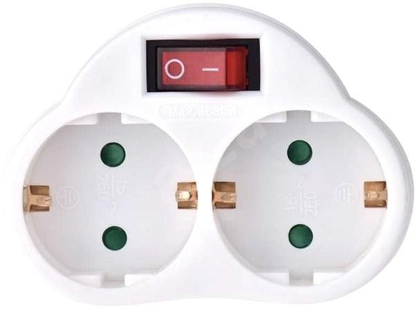 EMOS elosztó aljzat SCHUKO 2× lapos + 1× kerek, kapcsolóval - Elosztó
