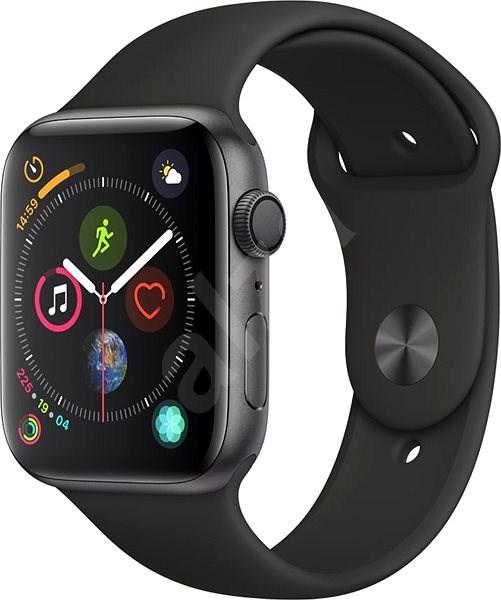 Apple Watch Series 4 44mm asztroszürke alumínium fekete sportszíjjal - Okosóra
