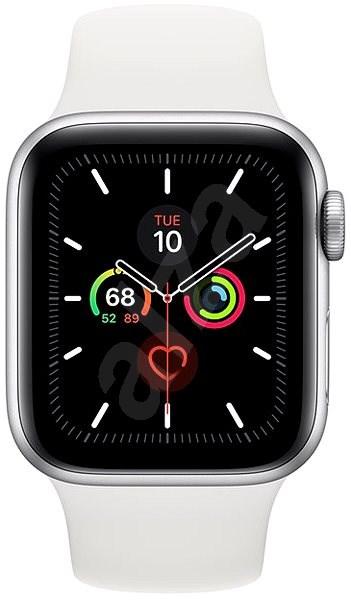 Apple Watch Series 5 40mm ezüstszínű alumíniumtok fehér sportszíjjal - Okosóra