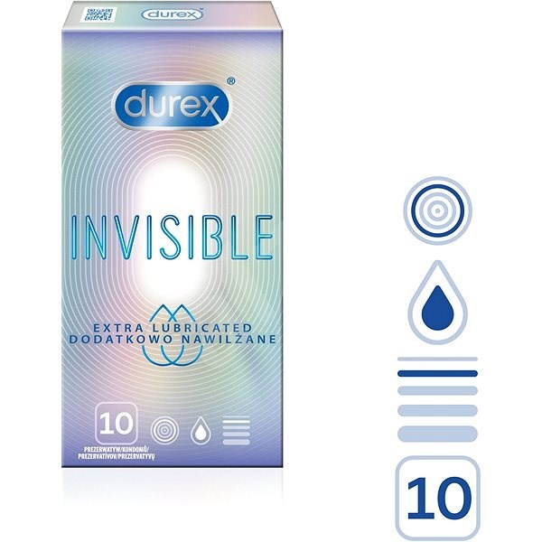 DUREX Invisible Extra Thin Extra Lubricated 10 db - Óvszer