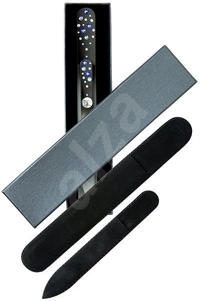 DUKAS Nagy és kicsi üveg körömreszelő Swarovski kristályokkal - kék kristályok - Kozmetikai ajándékcsomag