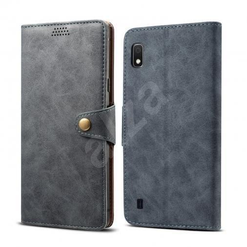 Lenuo Leather tok Samsung Galaxy A10 készülékhez, szürke - Mobiltelefon tok