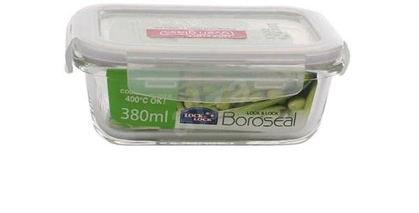 Lock&Lock élelmiszertároló edény, üveg / műanyag, téglalap alakú, 380 ml - Edény