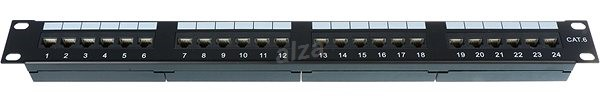 Datacom 24x RJ45 Portos, CAT6, UTP, Fekete, 1U - Patch panel