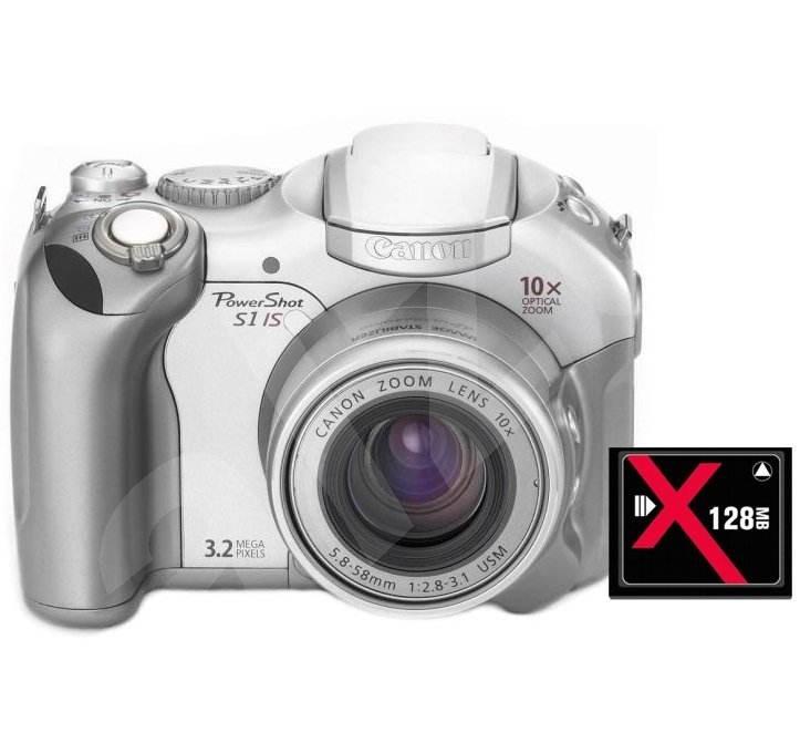 Sada Canon PowerShot S1 IS kompakt 3.34 mil. pixelu + Compact Flash karta 128MB - Digital Camera