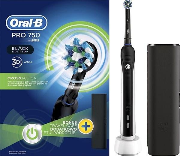 Oral B Pro 750 Black Cross Action + Utazó tok - Elektromos fogkefe