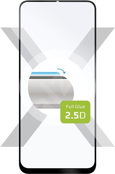 FIXED FullGlue-Cover Realme 6 Pro készülékhez - fekete - Képernyővédő