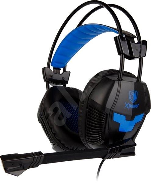 Sades Xpower Plus fekete kék - Gamer fejhallgató  7752e37fed