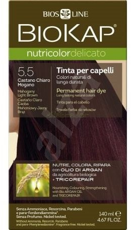 BIOKAP Nutricolor Delicato Mahogany Light Brown Gentle Dye 5.50 140 ml - Természetes hajfesték