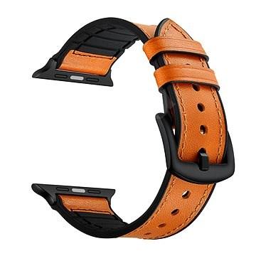 Eternico 38mm / 40mm Leather and Silicone Band narancssárga Apple Watch-hoz - Szíj