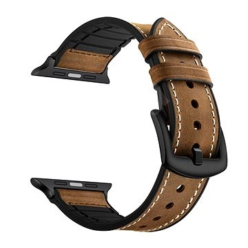 Eternico 42mm / 44mm Leather and Silicone Band barna Apple Watch-hoz - Szíj