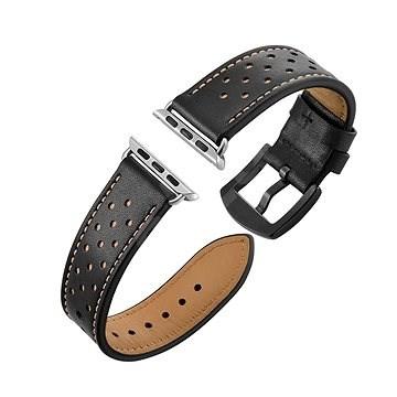 Eternico 42mm / 44mm Leather Band fekete Apple Watch-hoz - Szíj