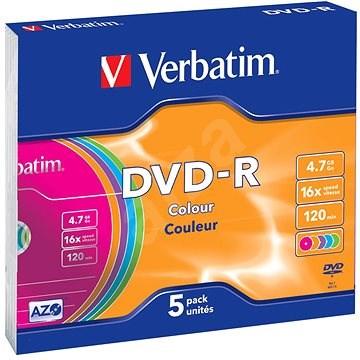 Verbatim DVD-R 4,7 GB 16x sebességes, színes felület, 5 db vékony tok - Média