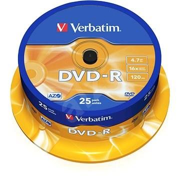 Verbatim DVD-R 4,7 GB, 16x, 25 db-os cakebox - Média