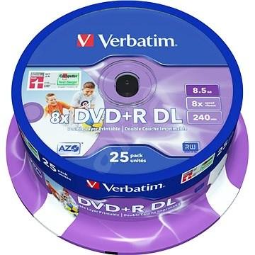 Verbatim DVD + R 8x kétrétegű nyomtatható 25ks cakebox - Média