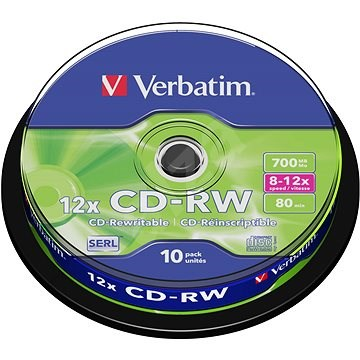 Verbatim CD-RW 10x, 10 db, cakebox - Média