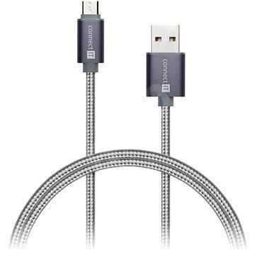 CONNECT IT Wirez Premium Micro USB 1 m, ezüst - Adatkábel