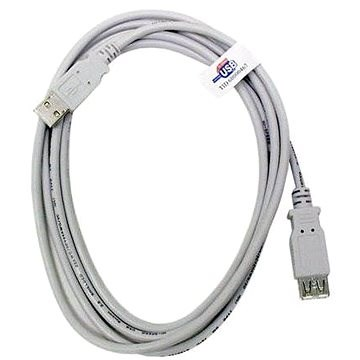 OEM USB 2.0 hosszabbító 5m A-A szürke - Adatkábel