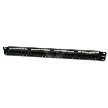 Datacom, 24x RJ45, közvetlen, CAT5E, UTP, fekete, 1U - Patch panel